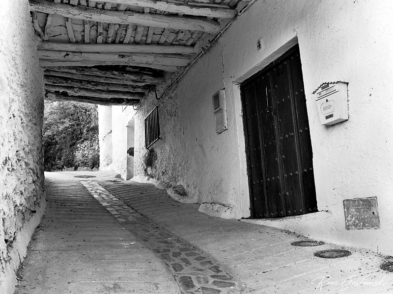 A narrow street in Pitres with a shady tinao