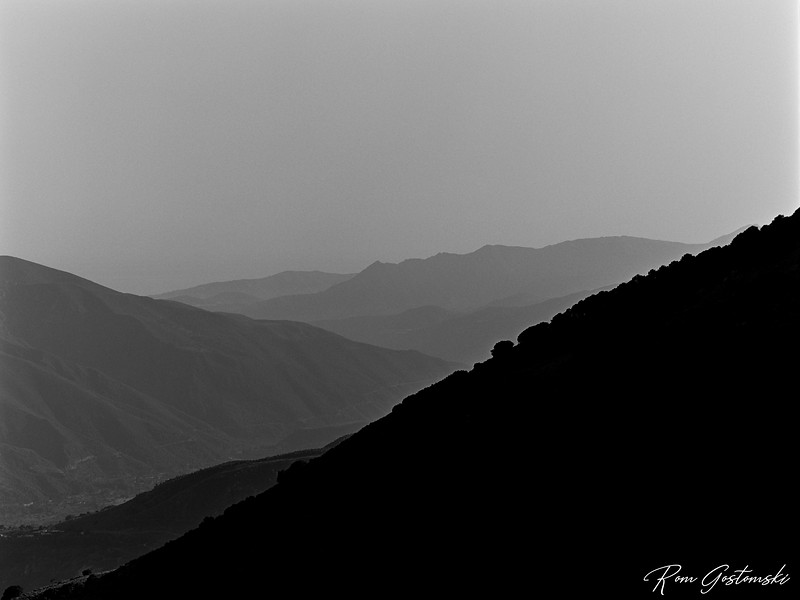 The Sierra Nevada mountains at dusk
