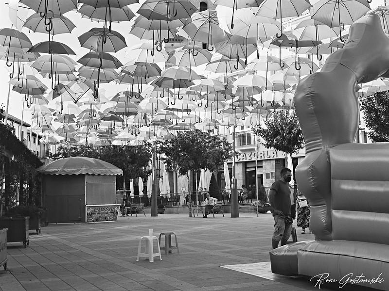 A sea of umbrellas in Cazorla at fiesta time