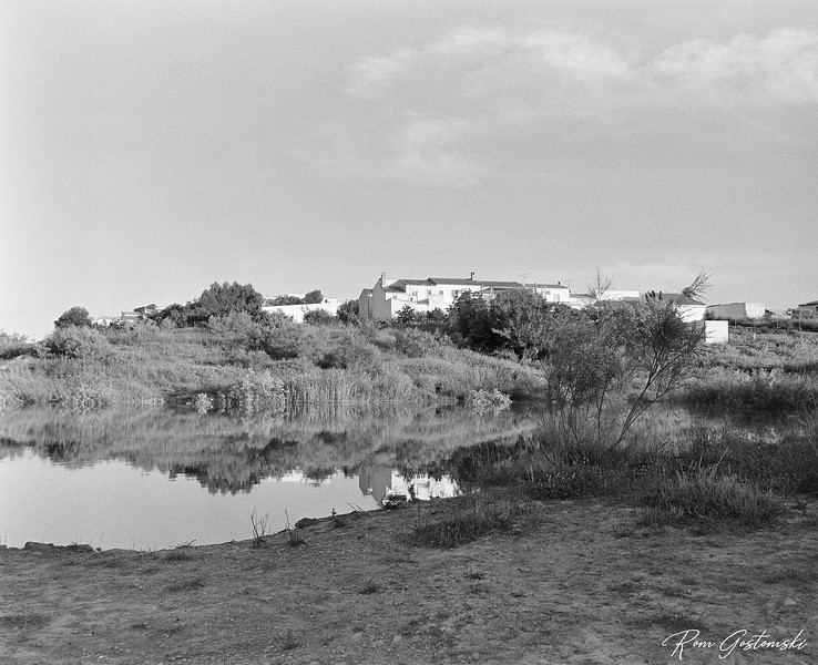Village houses by the lake