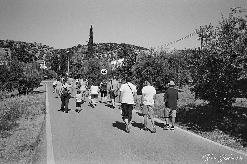 Walk back to the olive processing plant