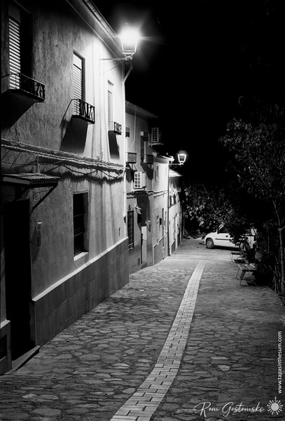 Village houses at night