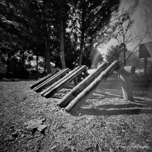 Through the pinhole: Rustic bicycle stand