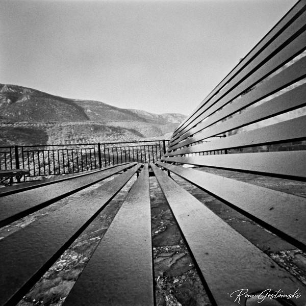 Through the pinhole: Bench with a view