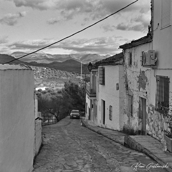 A steep village street