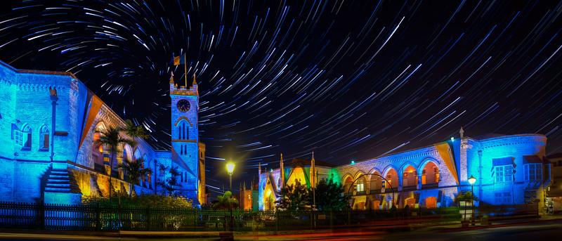 Barbados parliament with a star trail vortex