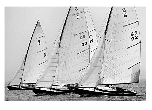 'S Boats' during the YRALIS Mid Sound Regatta, on Long Island Sound.<br /> Kevin explains, 'I love the vintage look of this shot. Some of these boats are very old and close in speed. This keeps the racing tight as witnessed by the proximity of the four boats.'