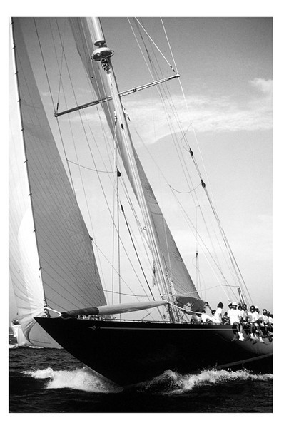 The boat is the J-Class Yacht 'Endeavor', shot at Newport, RI, during the Classic Yacht Regatta.<br /> Kevin told us, 'This shot will always be remembered as the time that a J class yacht had to dip behind a smaller 12m. We were racing the 12m 'Weatherly' and we were on starboard tack, which has the right of way over port tack boats. Even though 'Endeavor' was almost twice our size and going twice as fast, she had to give way. What a thrill!'