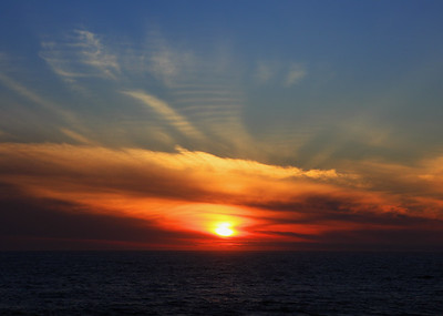 """Zak's Sunset  Colors exploding on the horizon, marked with a Z for """"Zak!"""""""