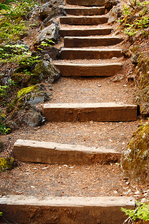 Sahalie Stairfalls.  The path next to the McKenzie River below Sahalie Falls is spotted with steps like these.  I love staircases.  Don't know why.  Maybe it's something to do with exploring-- stairs imply motion to somewhere, something new, a different level perhaps.