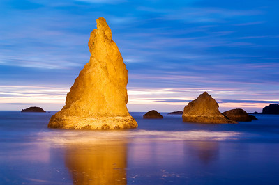 Light painting at Bandon Beach in Oregon