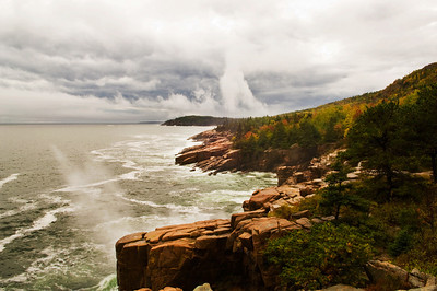 Acadia National Park.  Otter Cliffs in stormy weather