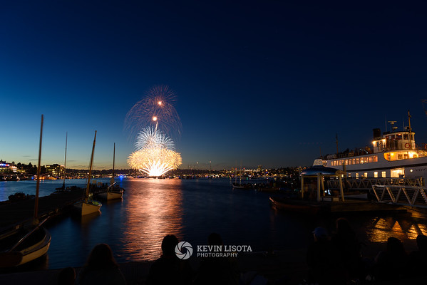 Seattle Fireworks from Lake Union Park 2017