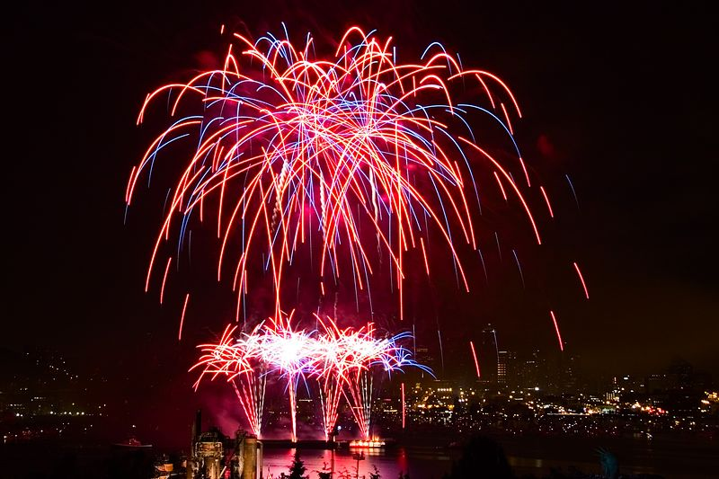4th of July Fireworks Show at Lake Union in Seattle