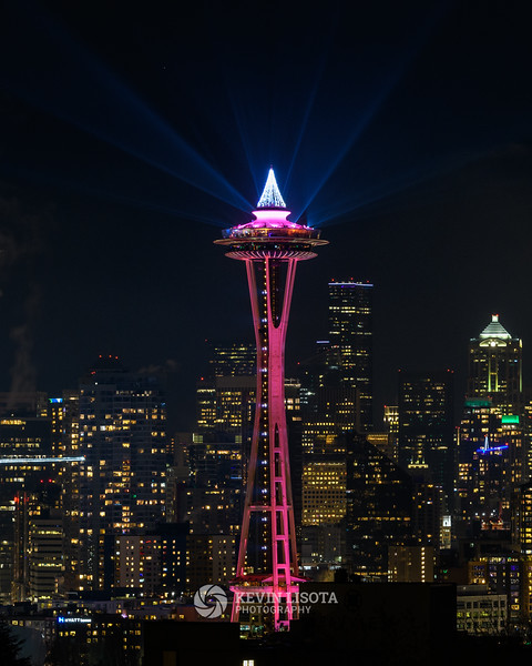New Year's light show at the Space Needle