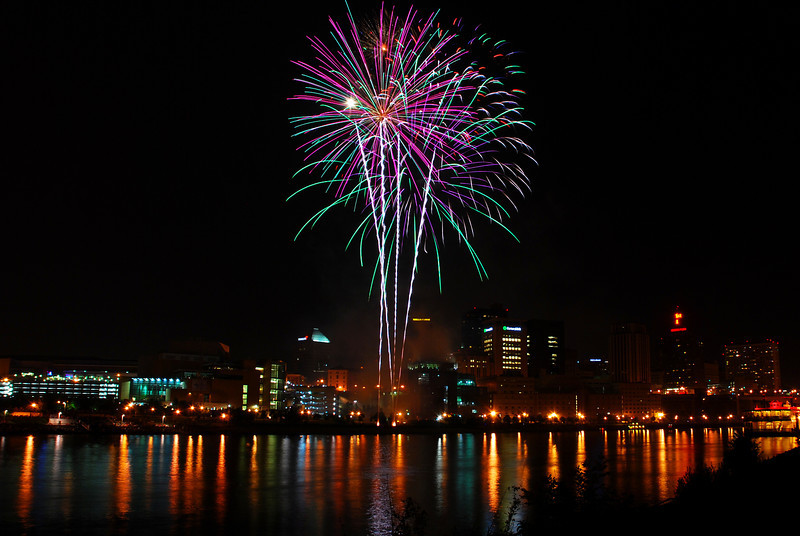 Fireworks over Downtown St. Paul from Harriet Island