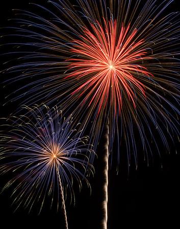 Blue/Red Firework Bursts