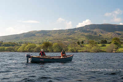 Anglers fishing from a boat on Lough Melvin