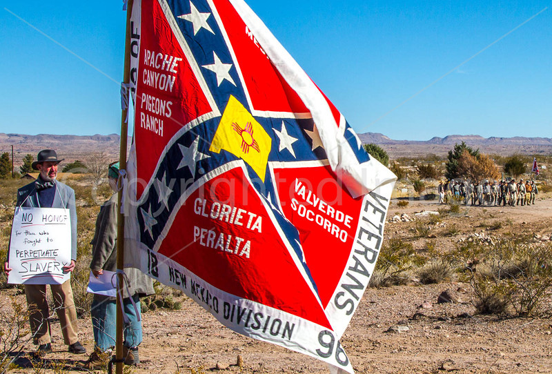 New Mexico - Protester at ceremony unveiling monument to Texas Confederates in Socorro cemetery - 2-24-12-C3-0050 - 72 ppi