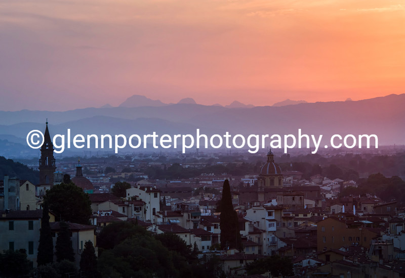 Sun setting from Piazzale Michelangelo, Florence, Italy.