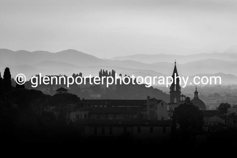 An evening in Florence, Italy (Black and White) – taken from Piazzale Michelangelo.