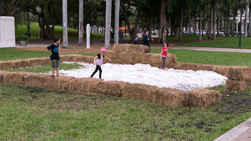 Children playing in a man made snow pile