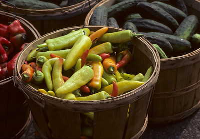 A basket of peppers. Atwater Market, Montreal, Quebec, September 1980 on Kodachrome with a Canon F-1, 50mm f1.4.
