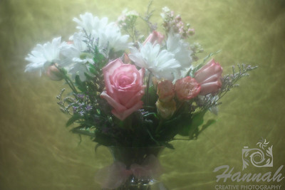 A bunch of assorted flowers on a clear vase with gold background. Shot with the Lensbaby composer with the soft focus optic.  © Copyright Hannah Pastrana Prieto