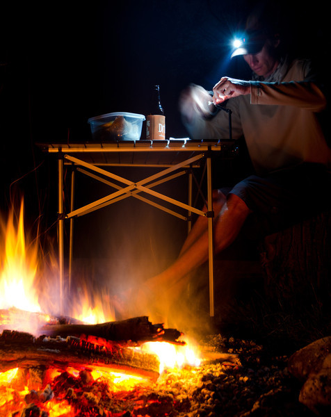 On-site fly tying. Camping. Campfire. Self timer.