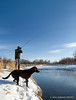 Montana Gallatin Valley East Gallatin Winter Fisherman and Dog
