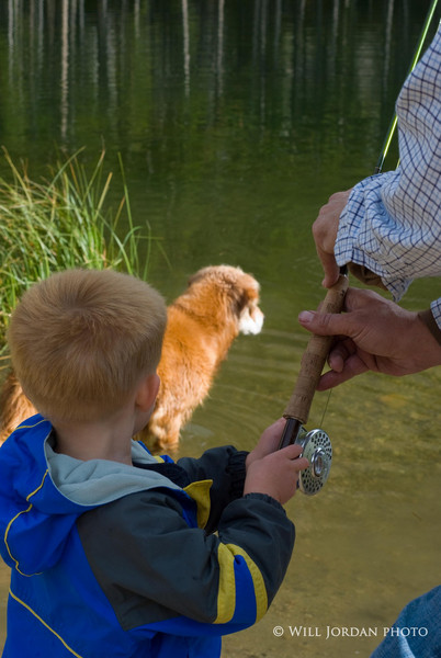 Take a kid fishing. Child. Children. Family. Angler and dog.