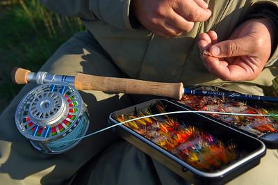 Salmon rod, reel and salmon flies