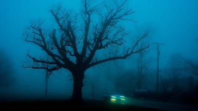 Lockport, Illinois, foggy morning, November 21, 2012