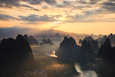 Li river scenery at dawn