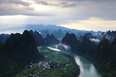 Li river valley scenery at daybreak