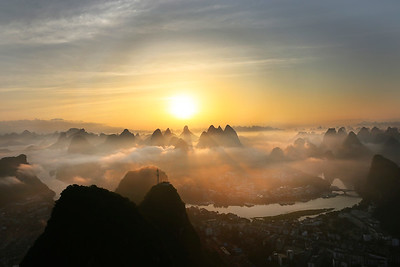 Sunrise above Yangshuo town