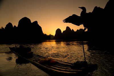 Li river scenery at sunset
