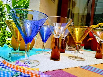 Modern Margarita Glasses on a table ready to serve