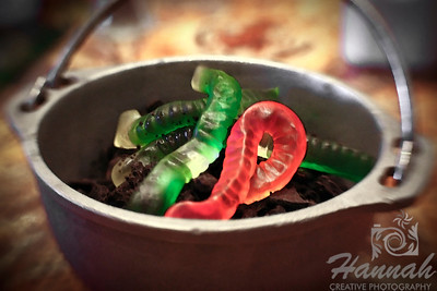 A watercolor digital art of a Lava Mud dessert consisting of creamy chocolate pudding with crushed oreo and gummy worms from Rainforest Cafe. Shot with the Lensbaby with Sweet 35 optic.  © Copyright Hannah Pastrana Prieto