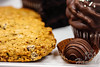 Cookies, a piece of chocolate truffle and cupcake <br /> <br /> © Copyright Hannah Pastrana Prieto