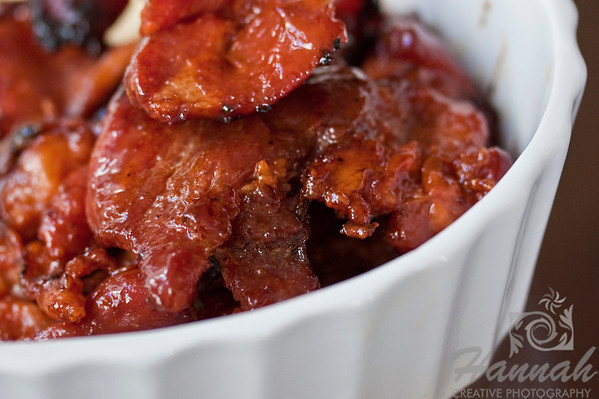 Close-up shot of a delicious Filipino meat dish called tocino.   © Copyright Hannah Pastrana Prieto