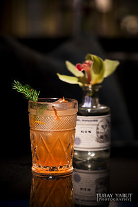 """""""Spring on Mt Tam"""" made from St George Artisan Distillers 'Terroir' Gin, house-crafted Sensei Blood Orange and Fennel Tonic, garnished with fennel frond and blood orange zest"""