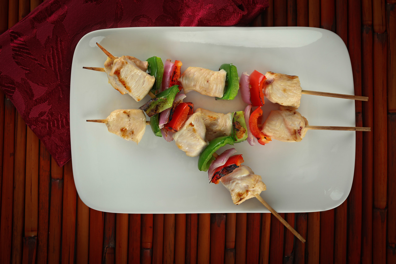 cubed chicken kabobs  with red peppers, green peppers and red onion