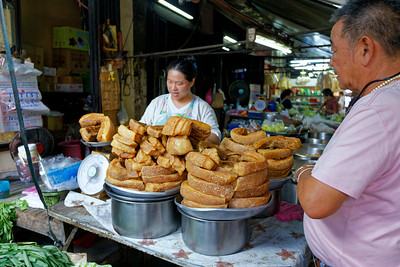 Pork Crackling Vendor in Chinatown, Bangkok