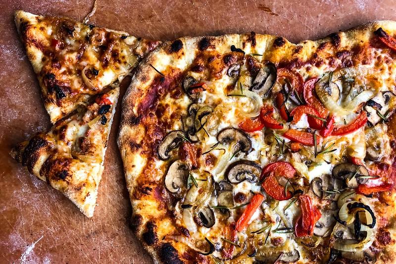 Mushroom, Bell Pepper, Onion and Rosemary Pizza