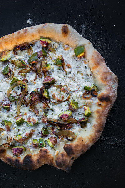 Fig, Caramelized Onions, Rosemary and Goat Cheese Pizza