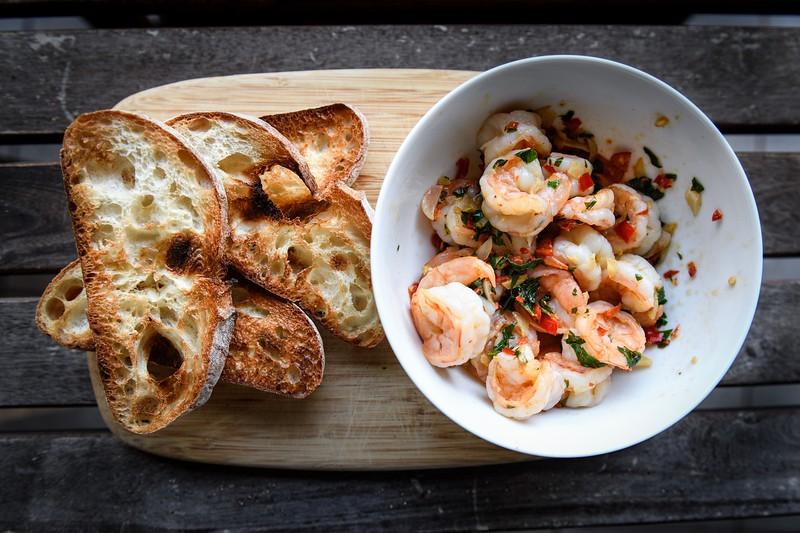 Shrimp on Ciabatta Bread