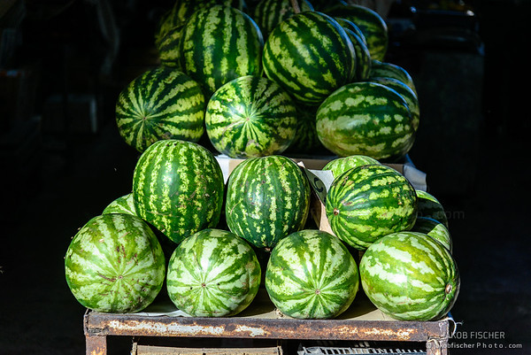 Watermelons offered on a street market