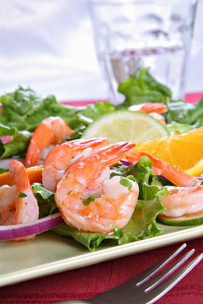 Seasoned Juicy Cocktail Shrimp Plate Closeup