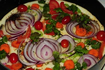 Decorated Egg white veggie Omlete....